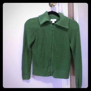 Ann Taylor Loft Green Zip-Up Waffle Knit Sweater